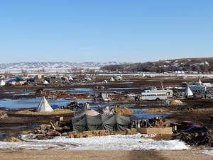The Oceti Sakowin camp near Cannon Ball, N.D., on Tuesday.