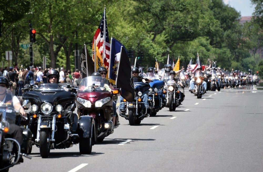 Bikers take part in the annual Rolling Thunder