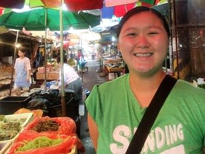 ​Megan Arnesen, of Plymouth, Minn., visited a busy market in Daejeon