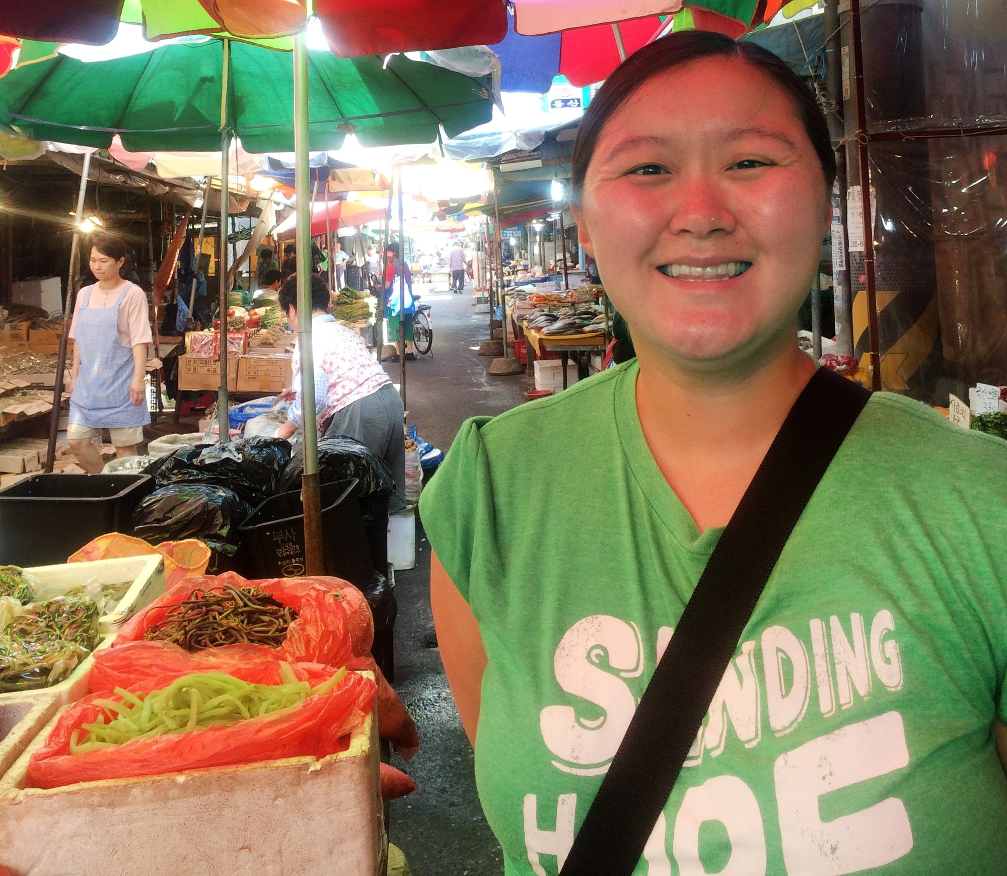 Megan Arnesen, of Plymouth, Minn., visited a busy market in Daejeon
