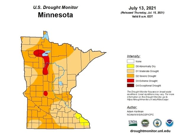 A map showing areas of drought