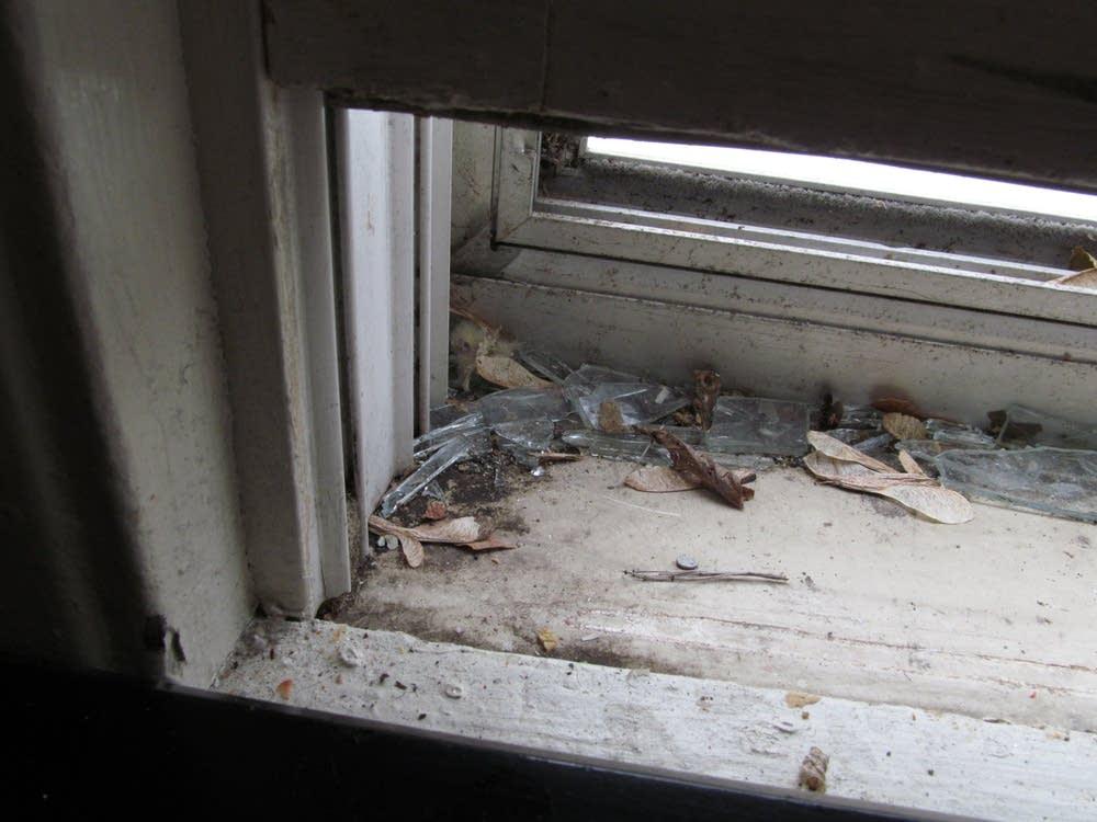 Broken storm window