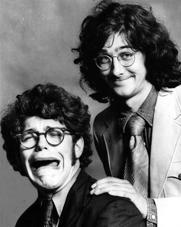 Comedians Al Franken and Tom Davis.