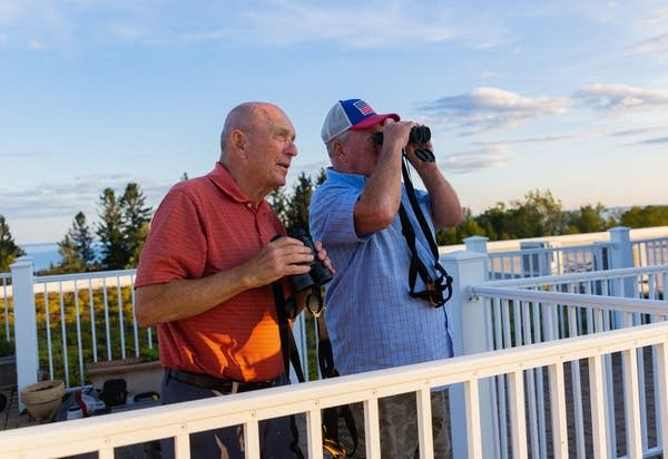Two people with binoculars scan the sky for birds.