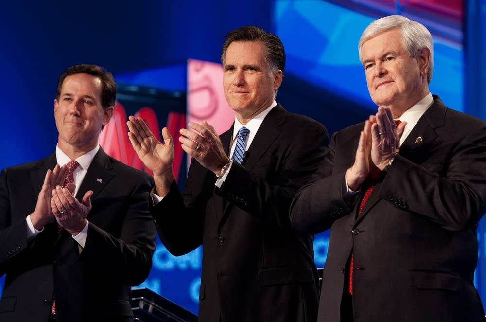 Republican presidential hopefuls Rick Sa