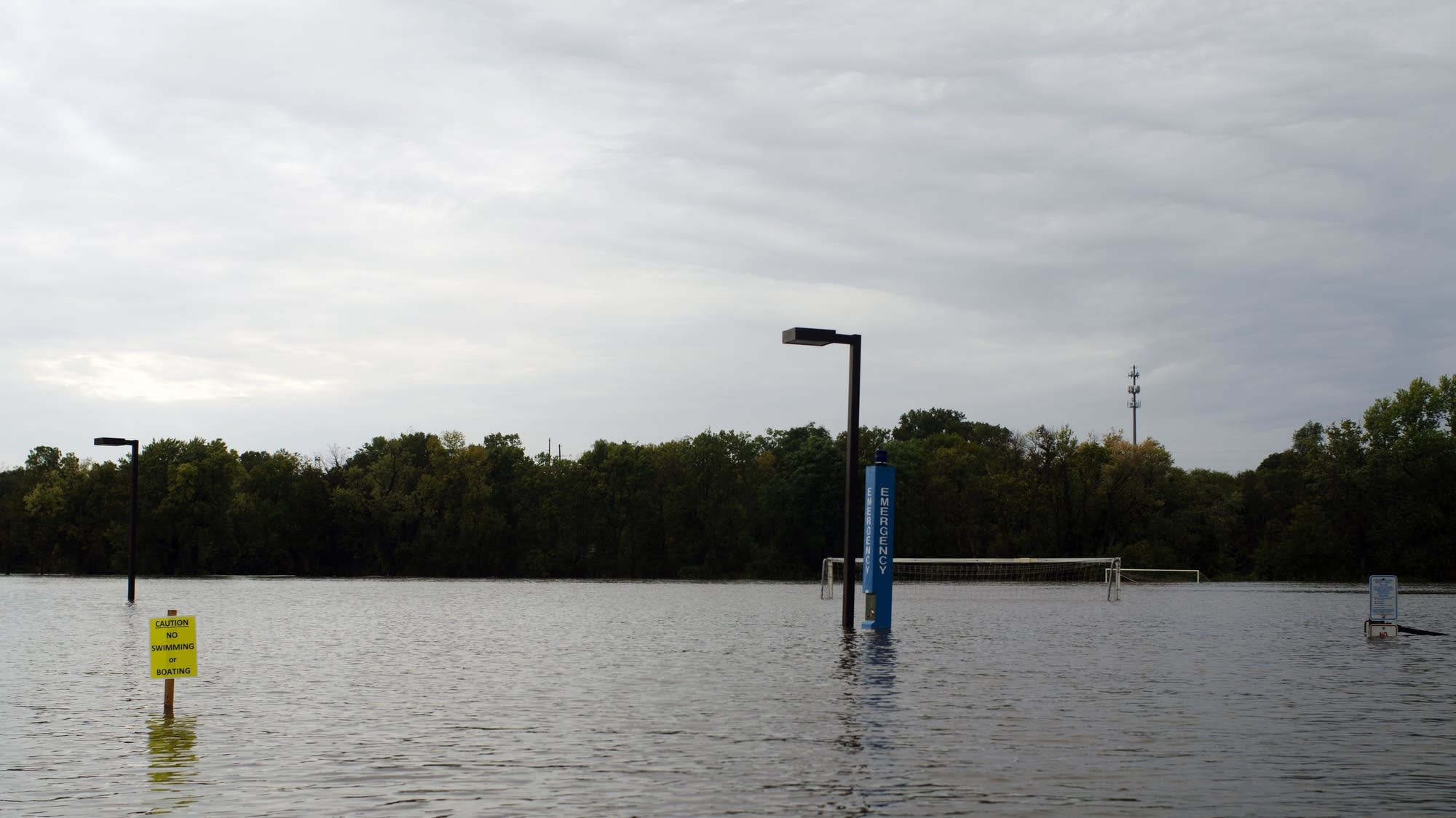 Cannon River floods Carleton College soccer field.