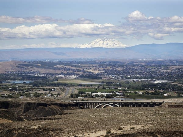 Mount Adams rises in the distance beyond the the Yakima Valley