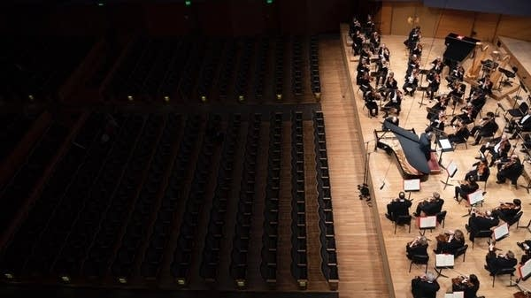 Orchestra performing to an empty audience