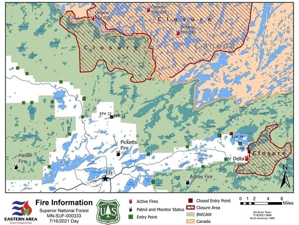 A Superior National Forest map showing temporary closure orders