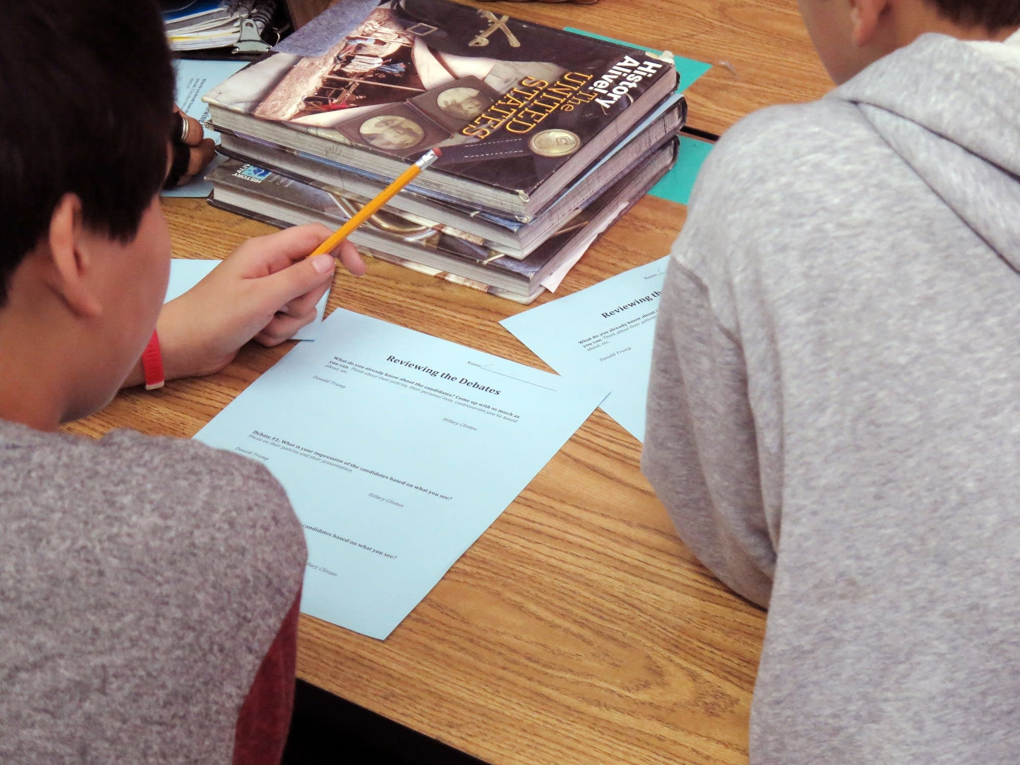 Students at Sanford Middle School learn about debates.
