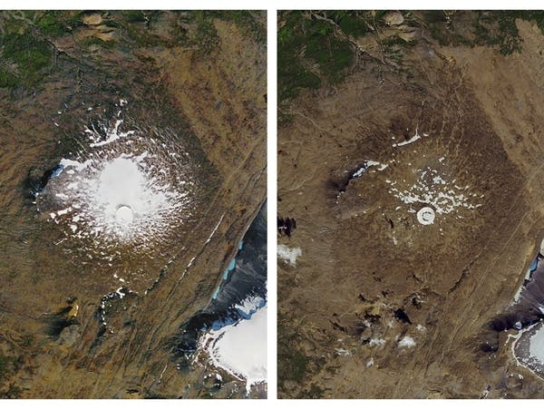 Images show the shrinking of the Okjokull glacier in Iceland.