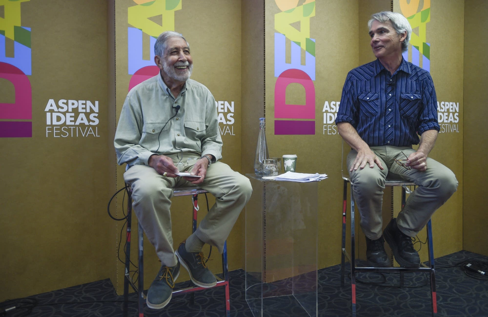 Mickey Edwards and William Bishop at the Aspen Ideas Festival.
