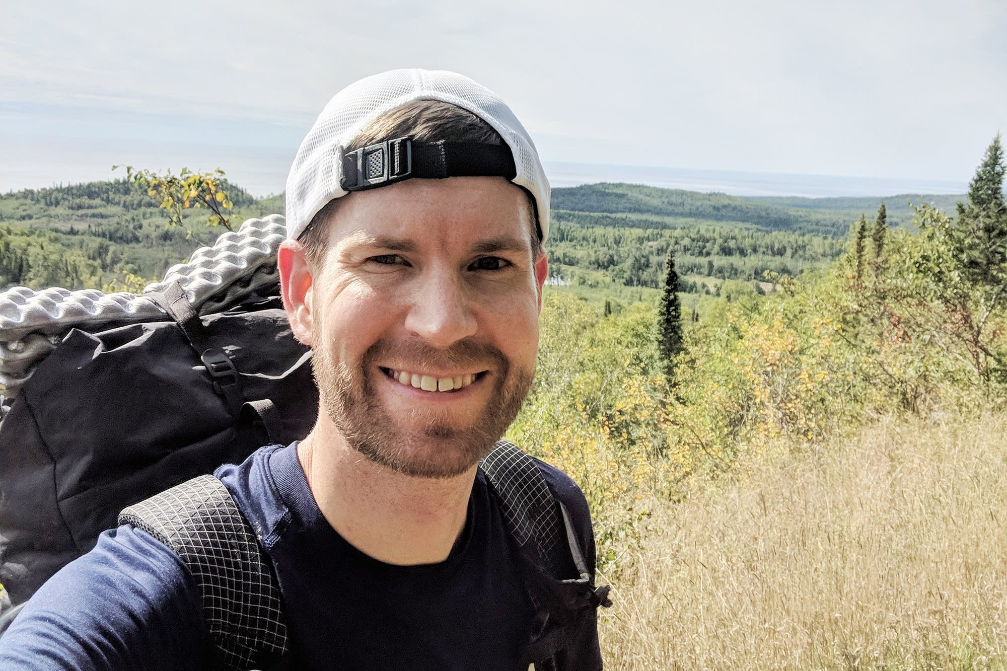 Ajay Pickett takes a selfie in a clearing just north of Grand Marais.