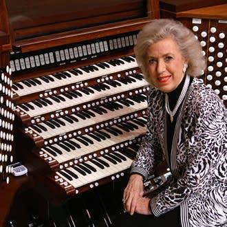 Diane Bish at the console of the Coral Ridge Ruffatti.