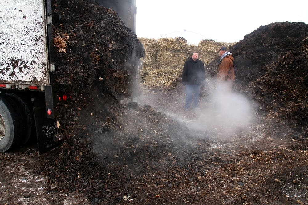 Emptying out the compost