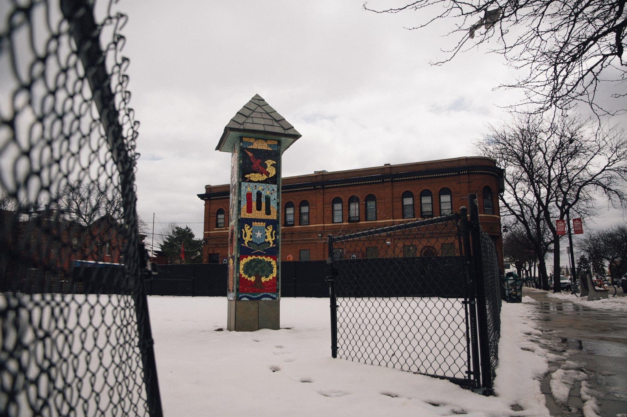 Public art in Minneapolis' Cedar Riverside neighborhood.