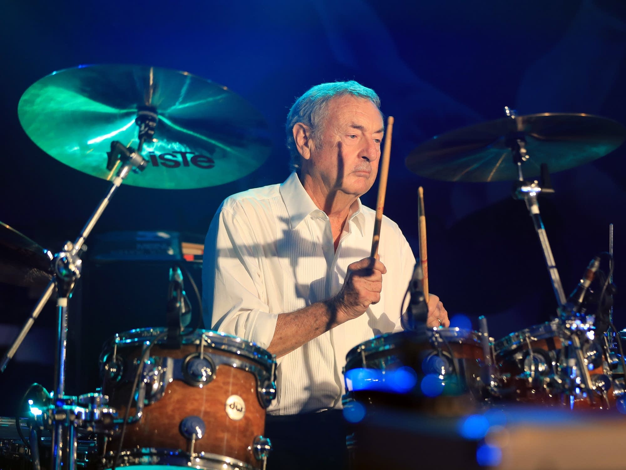 Nick Mason performs in Virginia Water, England, 2018.