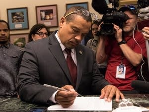 Keith Ellison declares his candidacy for State Attorney General.