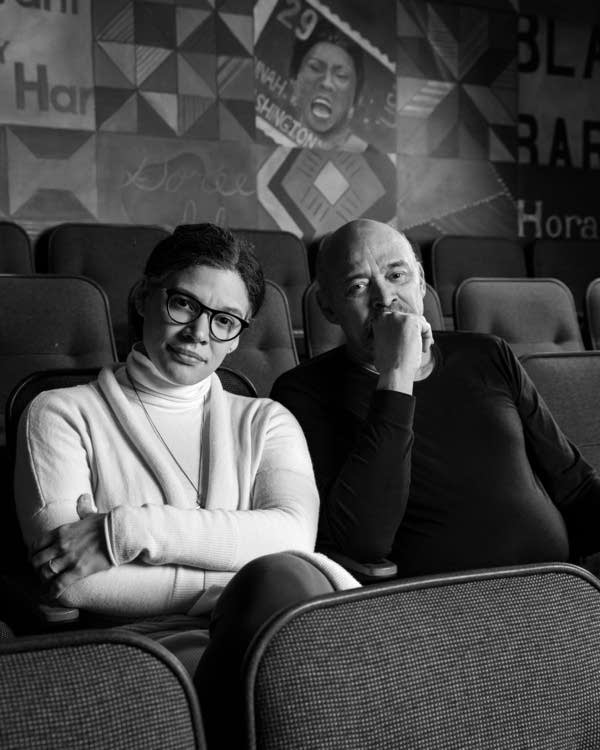 Sarah and Lou Bellamy sit for a portrait at Penumbra Theater in St. Paul.