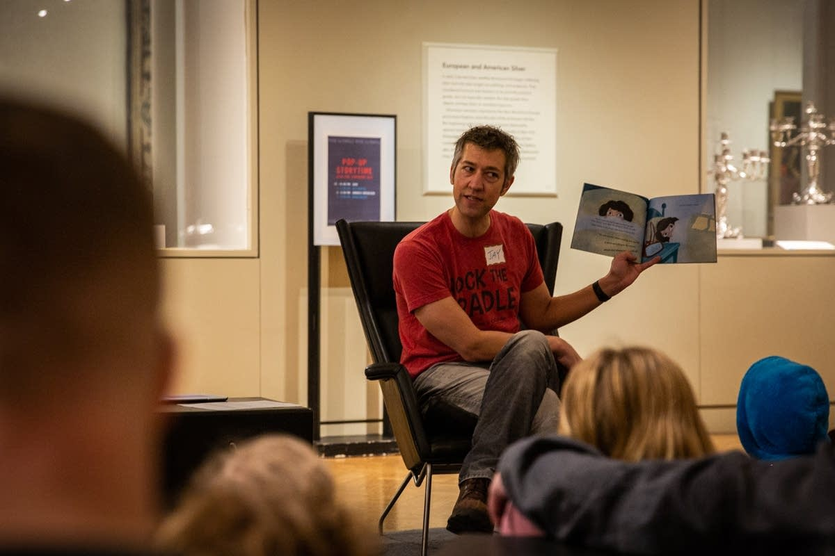 Jay Gabler reads at Pop-Up Storytime during Rock the Cradle 2020.