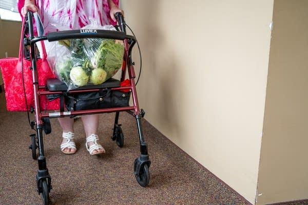 A bag of vegetables sit on a walker.