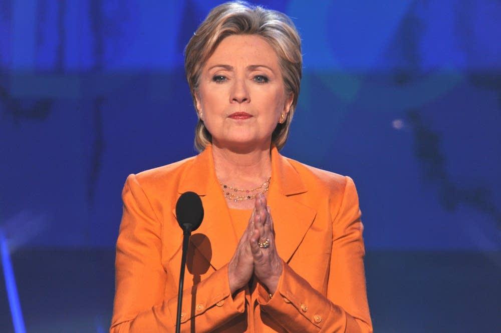 Clinton on the podium