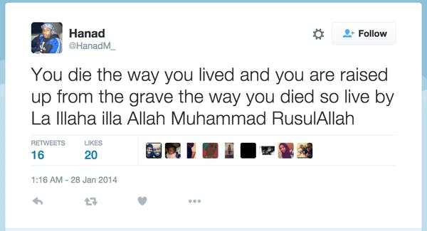 Tweet from Hanad Mohallim