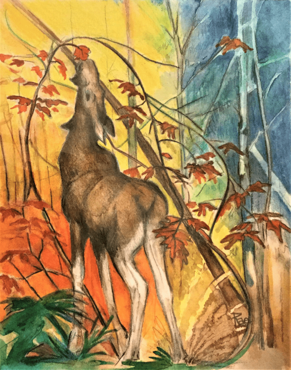 A painting of a deer.