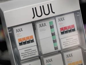 Electronic cigarettes and pods by Juul on sale in Chicago.