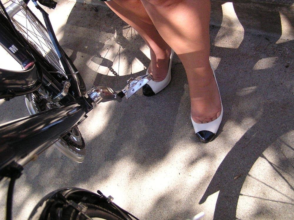 Biking in heels