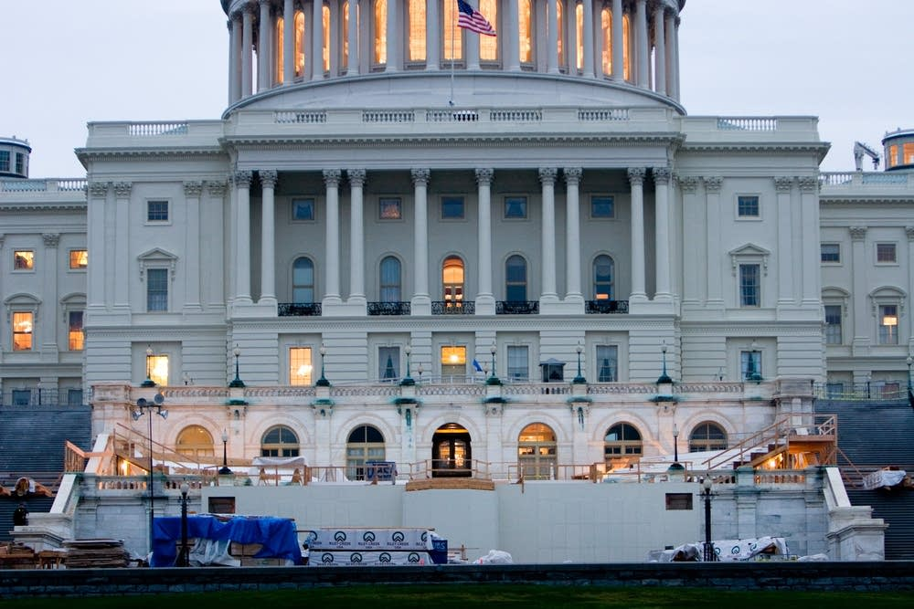 Crews begin construction of the inauguration site