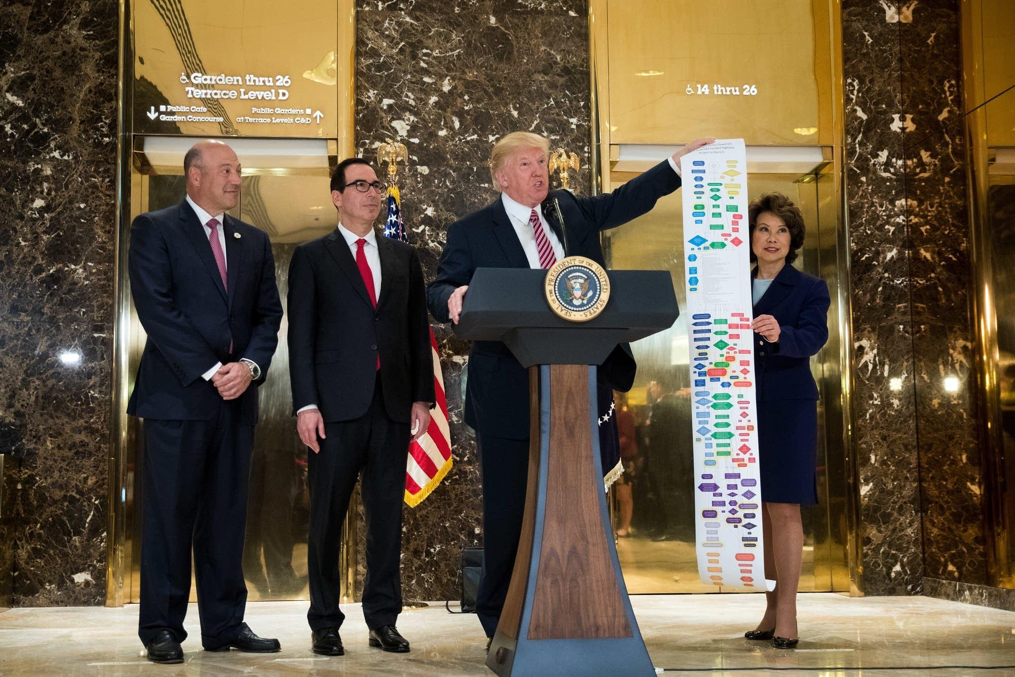 Gary Cohn, Steve Mnuchin, Donald Trump, Elaine Chao