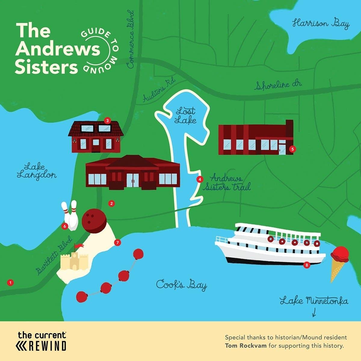 Map of Andrews Sisters landmarks in Mound, Minn.