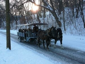 A horse-drawn wagon in winter