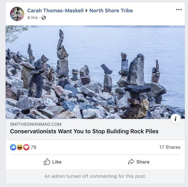 A screenshot of a Facebook post shows a link to an article.