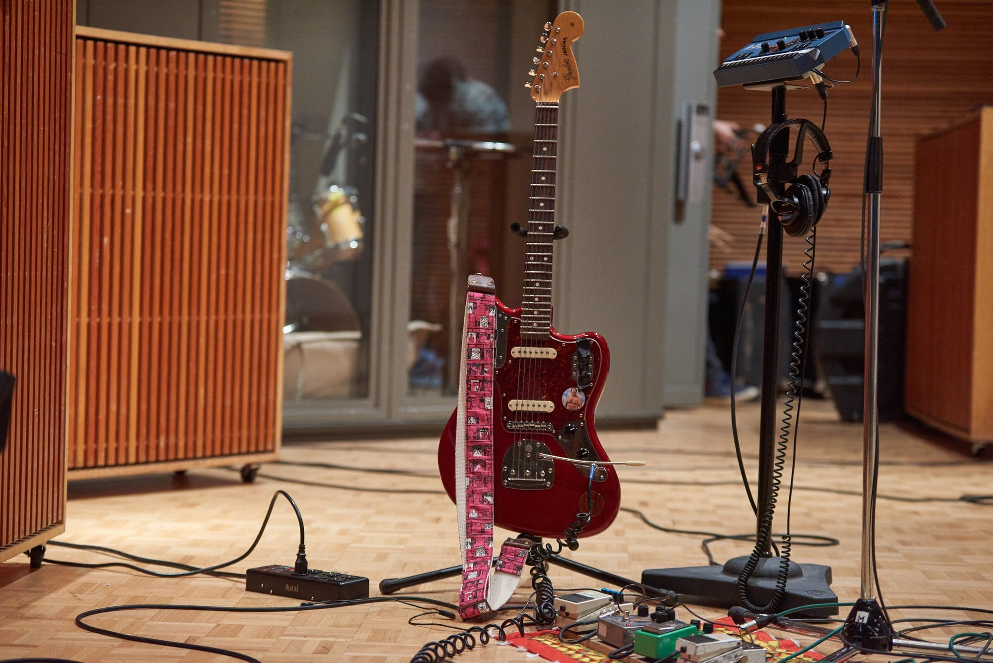 Ron Gallo's Fender Jaguar on its stand in The Current studio