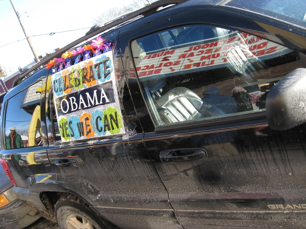 A decorated van welcomes Obama revelers
