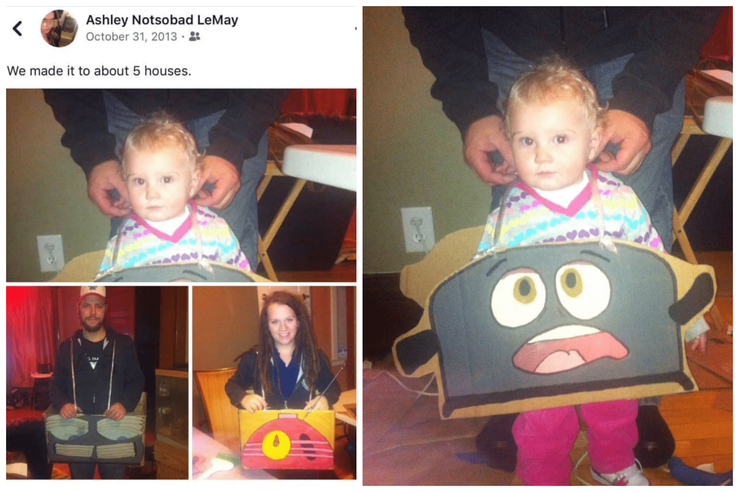 A family dressed in Halloween costumes to look like cartoon appliances.