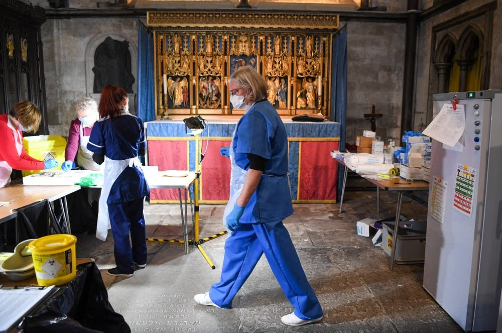 Medical staff working inside Salisbury Cathedral