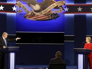 Trump gestures during first debate