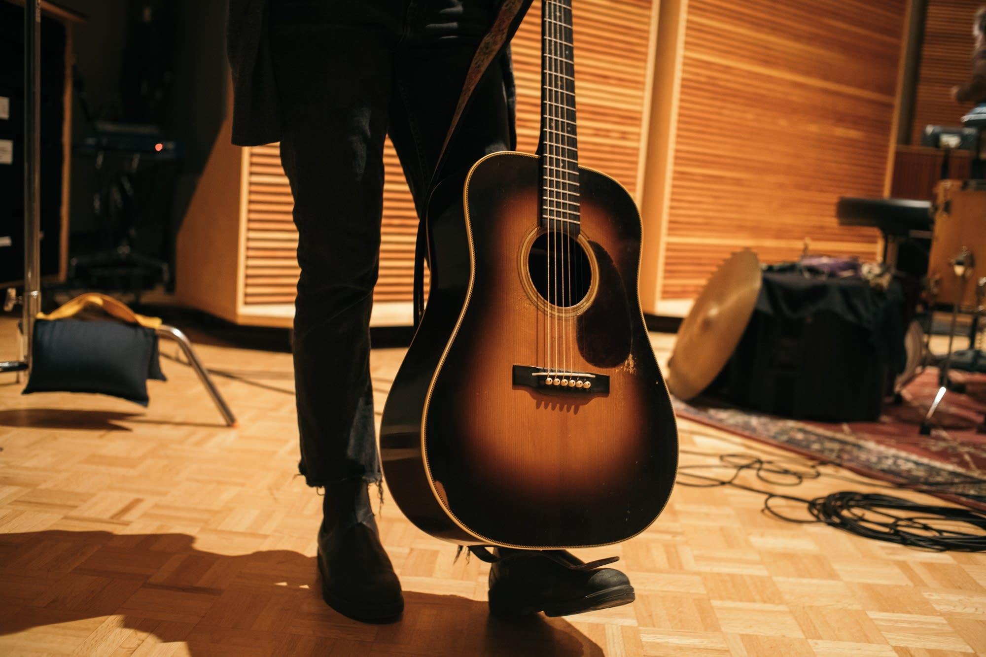 Emily Frantz of Mandolin Orange with her Pre-War Guitars Co. guitar