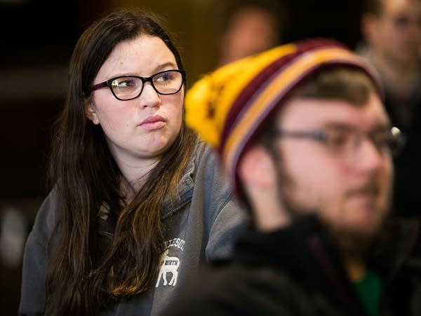 University of Minnesota Duluth students watch Franken resignation speech