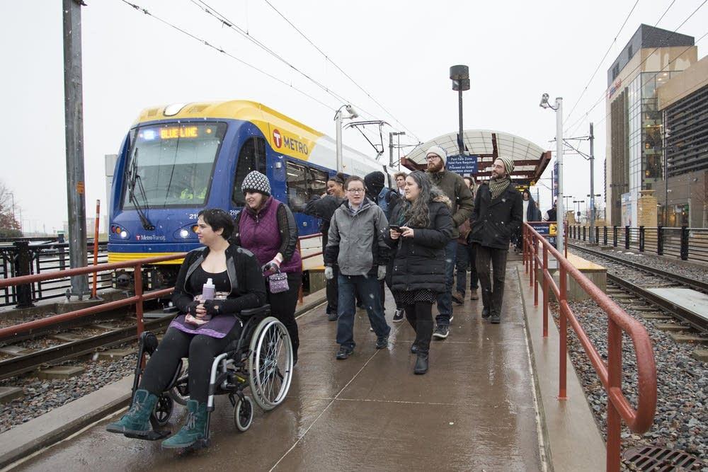 Exiting the light rail train