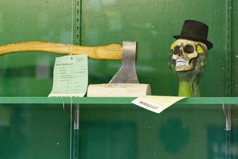 Top hat-wearing skull in the 4-H exhibits