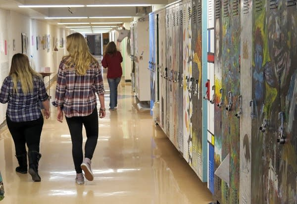 Students walk the halls at the Perpich Arts HS.