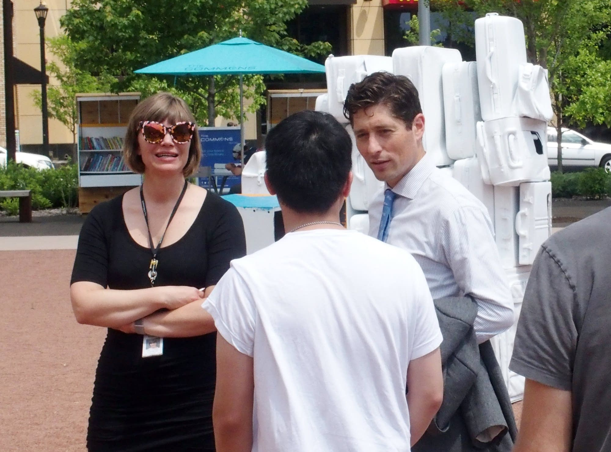 Mayor Jacob Frey dropped by as volunteers assembled 'Carry On Homes.'