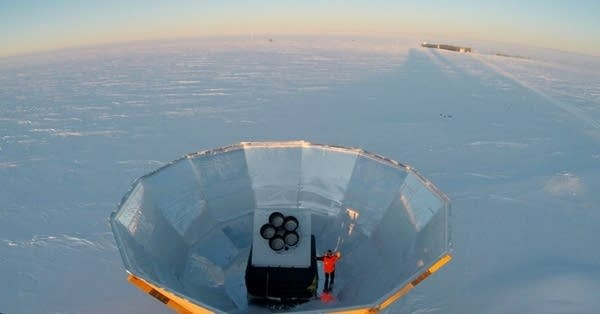 The five receivers of the Keck Array are shielded from blowing snow.