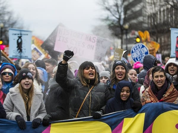 Demonstrators chant during the 2020 Women's March