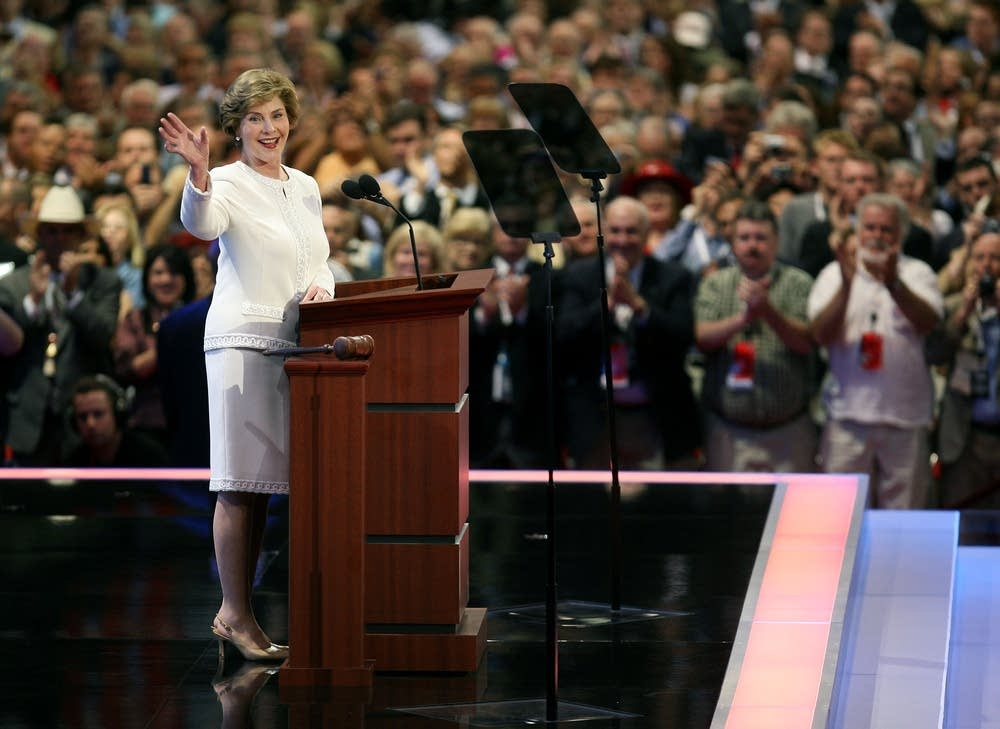 First Lady Laura Bush speaks at the RNC