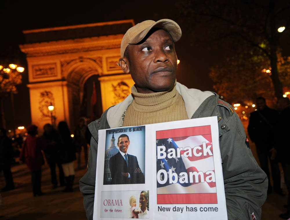 Obama supporters react in Paris
